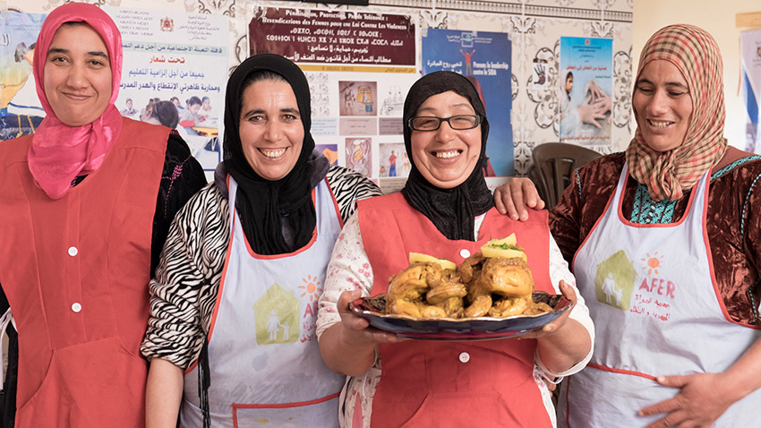 The Morocco Community Lunch initiative assists the long-term development of job training, health and education programs for over 700 rural women and children.